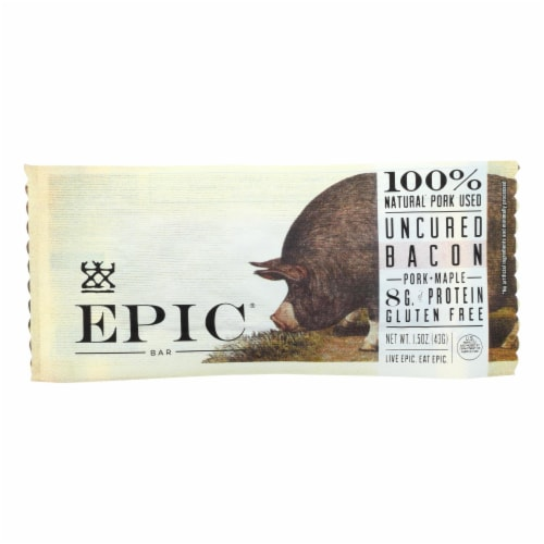 EPIC Maple Uncured Bacon and Pork Bars Perspective: front