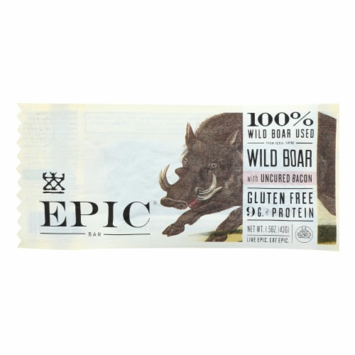 Epic - Bar - Wild Boar - Uncured Bacon - Case of 12 - 1.5 oz Perspective: front