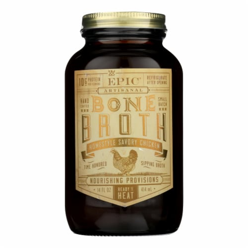 Epic Bone Broth-Homestyle Savory Chicken  - Case of 6 - 14 FZ Perspective: front