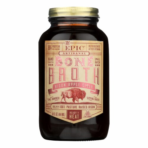 Epic Bison Apple Cider Broth  - Case of 6 - 14 FZ Perspective: front