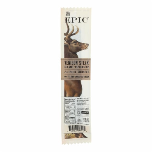 EPIC Sea Salt + Pepper Venison Steak Strips Perspective: front