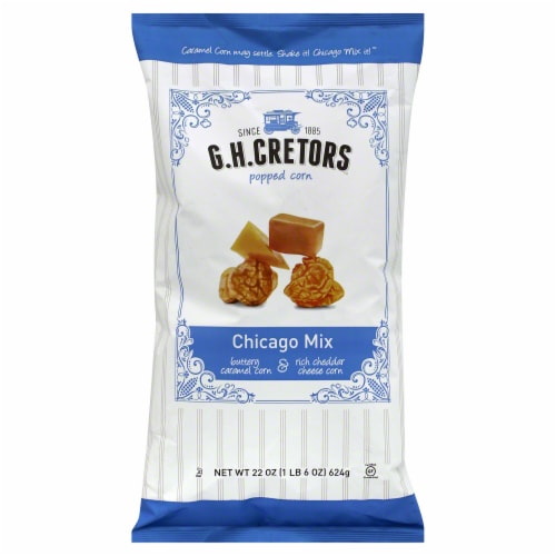 G.H. Cretors Popped Corn Chicago Mix 22oz (Pack of 6) Perspective: front