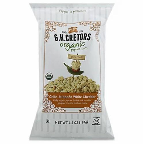 G.H Cretors  Organic Popcorn Chile Jalapeno White Cheddar ,4.5oz (Pack of 12) Perspective: front