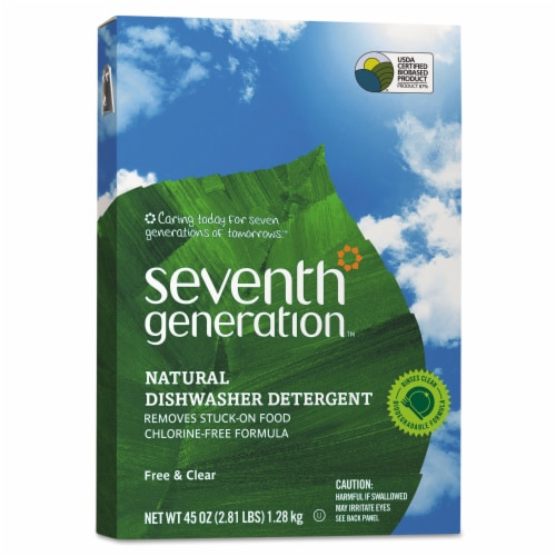 Seventh Generation Auto Dish Powder - Free and Clear - Case of 12 - 45 oz. Perspective: front