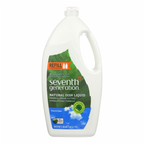 Seventh Generation Dish Liquid - Free and Clear - Case of 6 - 50 Fl oz. Perspective: front