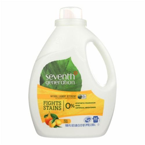 Seventh Generation Natural Laundry Detergent - Fresh Citrus - Case of 4 - 100 Fl oz. Perspective: front
