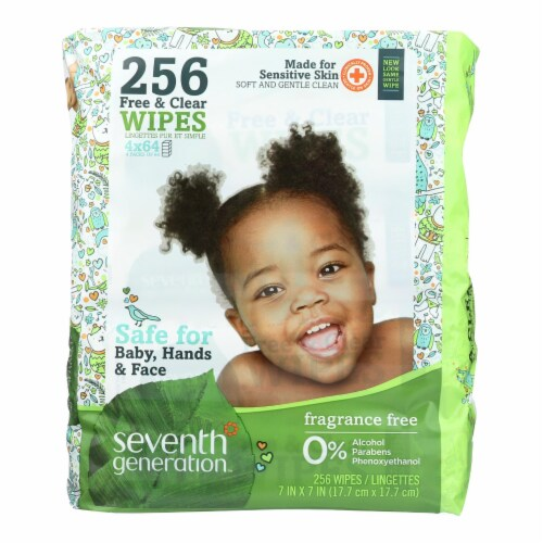 Seventh Generation Free and Clear Baby Wipes - Refills - Case of 3 - 256 Count Perspective: front