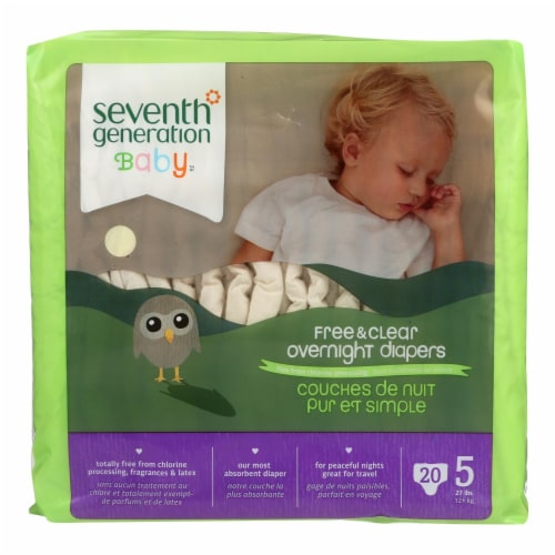 Seventh Generation Free and Clear Overnight Diapers - Stage 5 - Case of 4 - 20 Count Perspective: front