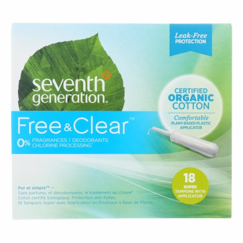Seventh Generation - Free and Clear Tampons with Applicator - Super - Case of 6 - 18 Count Perspective: front