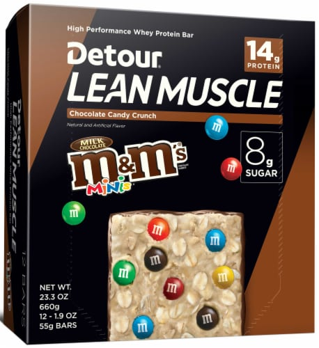 Detour Lean Muscle Chocolate Candy Crunch Whey Protein Bar, 1.9 Ounce -- 48 per case. Perspective: front