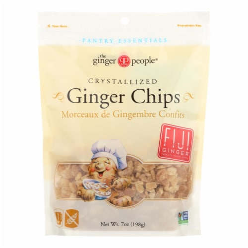 Ginger People Crystallized Ginger Chips - Bakers Cut - 7 oz - Case of 12 Perspective: front