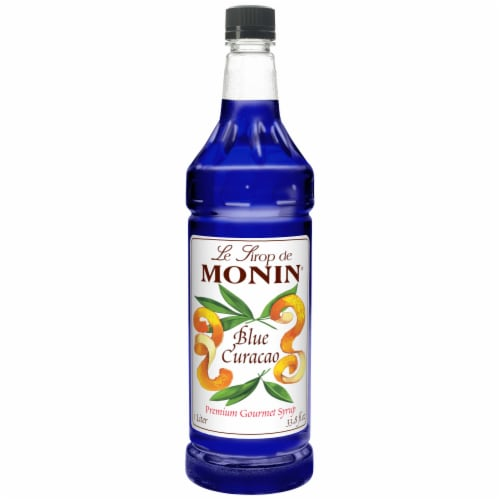 Monin Blue Curacao Flavor Syrup, 1 Liter -- 4 per case. Perspective: front