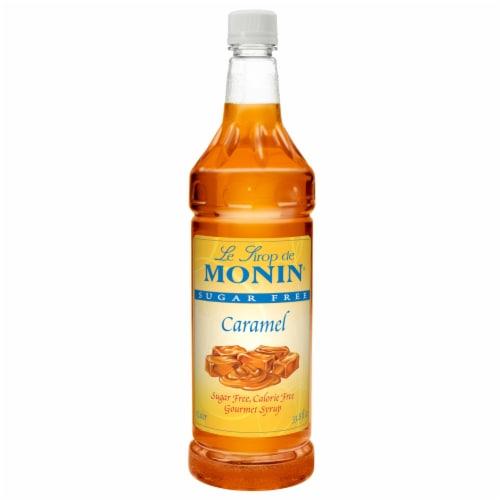 Monin Sugar Free Caramel Flavor Syrup, 1 Liter -- 4 per case. Perspective: front