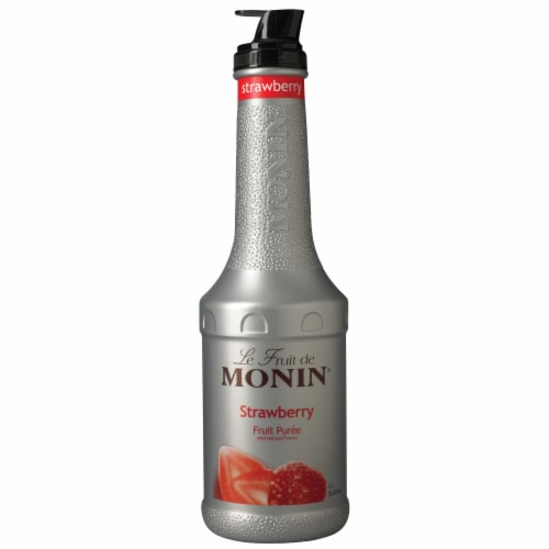 Monin Premium Strawberry Fruit Puree, 1 Liter -- 4 per case. Perspective: front