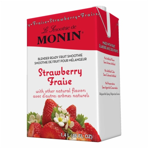 Monin Blender Ready Strawberry Fruit Smoothie Mix, 46 Ounce -- 6 per case. Perspective: front