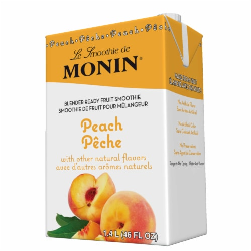 Monin Blender Ready Peach Fruit Smoothie Mix, 46 Ounce -- 6 per case. Perspective: front