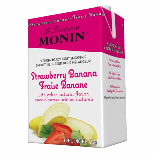 Monin Blender Ready Strawberry Banana Fruit Smoothie Mix, 46 Ounce -- 6 per case. Perspective: front