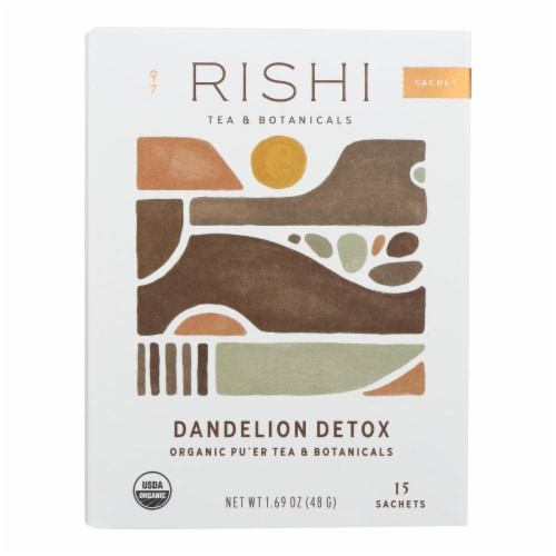 Rishi - Organic Tea - Dandelion Detox - Case of 6 - 15 Bags Perspective: front