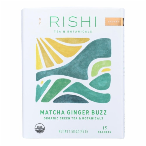 Rishi - Organic Tea - Matcha Ginger Buzz - Case of 6 - 15 Bags Perspective: front