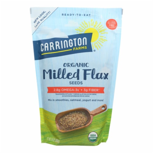 Carrington Farms Organic Milled Flax Seeds - Linaza Molida - Case of 6 - 14 oz Perspective: front