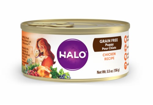 HALO Chicken Recipe Grain Free Puppy Wet Dog Food Perspective: front
