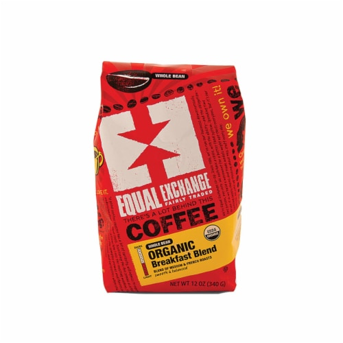 Equal Exchange Organic Whole Bean Coffee - Breakfast Blend - Case of 6 - 12 oz. Perspective: front