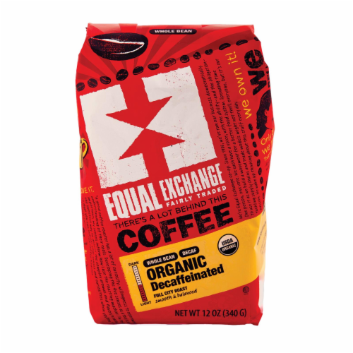 Equal Exchange Organic Whole Bean Coffee - Decaf - Case of 6 - 12 oz. Perspective: front