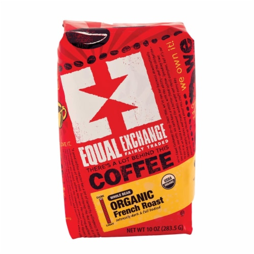 Equal Exchange Organic Whole Bean Coffee - French Roast - Case of 6 - 10 oz. Perspective: front