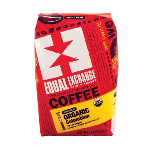 Equal Exchange Organic Whole Bean Coffee - Columbian - Case of 6 - 12 oz. Perspective: front