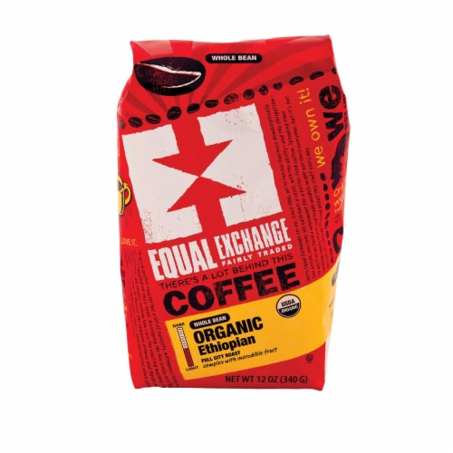 Equal Exchange Organic Whole Bean Coffee - Ethiopian - Case of 6 - 12 oz. Perspective: front
