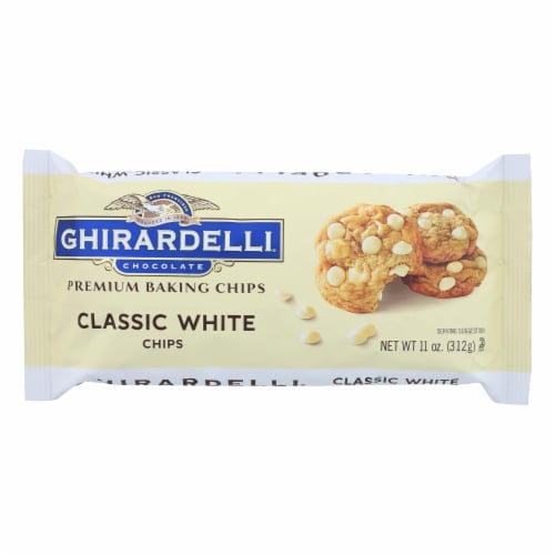 Ghirardelli Classic White Baking Chips - Case of 12 - 11 oz. Perspective: front