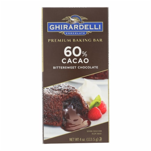Ghirardelli Premium Baking Bar - 60% Cacao Bittersweet Chocolate - Case of 12 - 4 oz Perspective: front