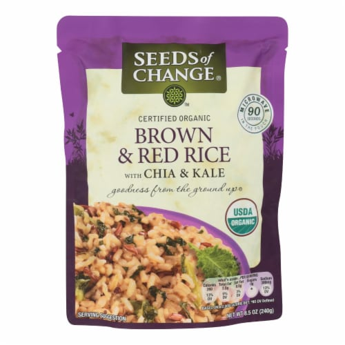 Seeds of Change Organic Brown and Red Rice with Chia and Kale - Case of 12 - 8.5 oz Perspective: front