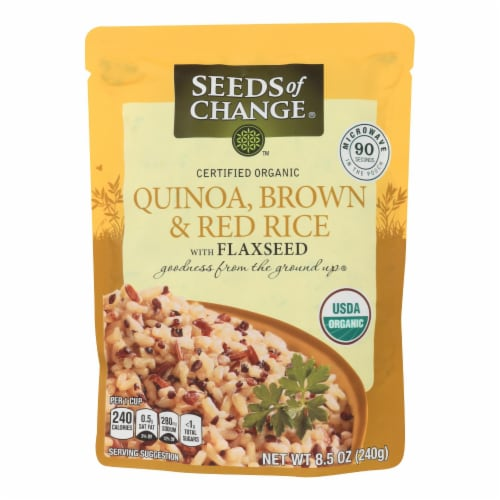 Seeds of Change Organic Quinoa Brown and Red Rice with Flaxseed - Case of 12 - 8.5 oz Perspective: front