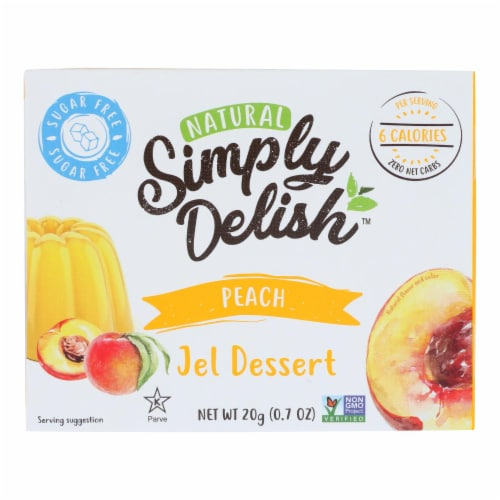 Simply Delish Jel Dessert - Peach - Case of 6 - 1.6 oz. Perspective: front