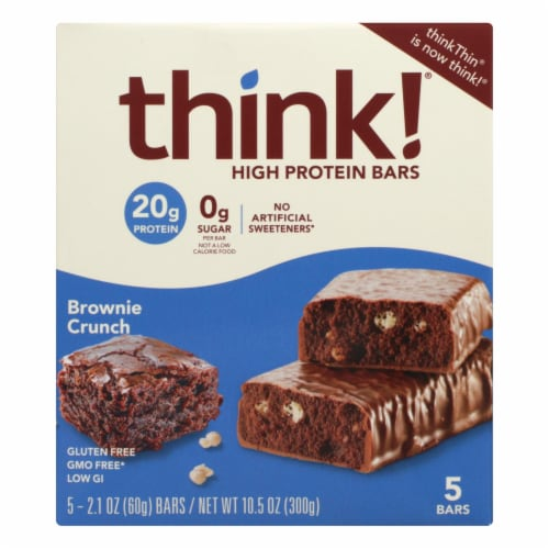 Think! Thin Brownie Crunch High Protein Bars - Case of 6 - 5/2.1 OZ Perspective: front