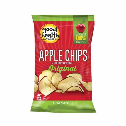 Good Health Apple Chips - Crispy Original - Case of 12 - 2.5 oz. Perspective: front