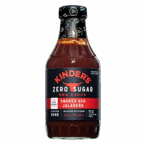 Kinder's Zero Sugar Smoked Red Jalapeno BBQ Sauce, 17.5 fl oz [Pack of 6] Perspective: front