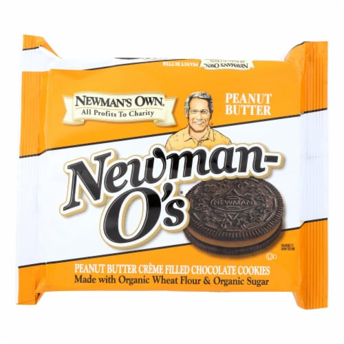 Newman's Own Organics Creme Filled Chocolate Cookies - Peanut Butter - Case of 6 - 13 oz. Perspective: front