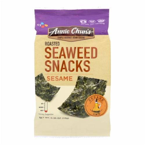 Annie Chun's Seaweed Snacks Roasted Sesame - Case of 12 - 0.35 oz. Perspective: front