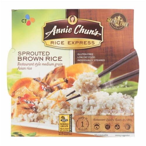 Annie Chun's Rice Express Sprouted Brown Sticky Rice - Case of 6 - 6.3 oz. Perspective: front