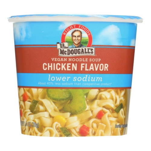 Dr. McDougall's Vegan Noodle Lower Sodium Soup Cup - Chicken - Case of 6 - 1.4 oz. Perspective: front