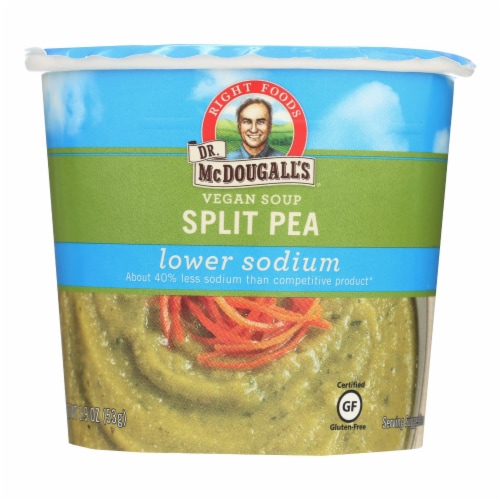 Dr. McDougall's Vegan Split Pea Lower Sodium Soup Cup - Case of 6 - 1.9 oz. Perspective: front