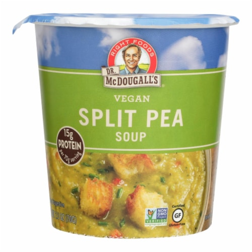 Dr. McDougall's Vegan Split Pea and Barley Soup Big Cup - Case of 6 - 2.5 oz. Perspective: front