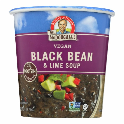 Dr. McDougall's Vegan Black Bean and Lime Soup Big Cup - Case of 6 - 3.4 oz. Perspective: front