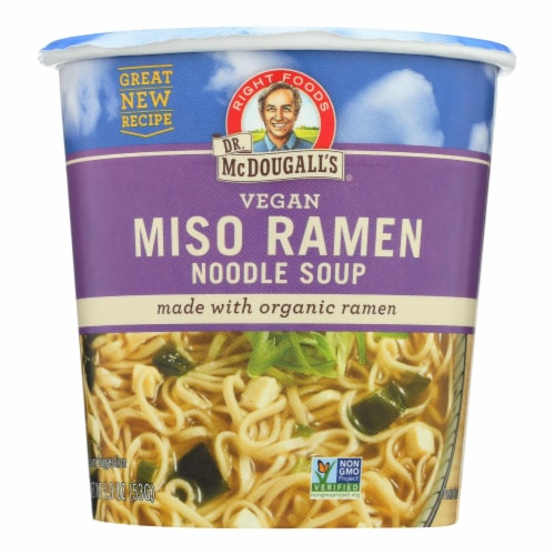 Dr. McDougall's Vegan Miso Ramen Soup Big Cup with Noodles - Case of 6 - 1.9 oz. Perspective: front