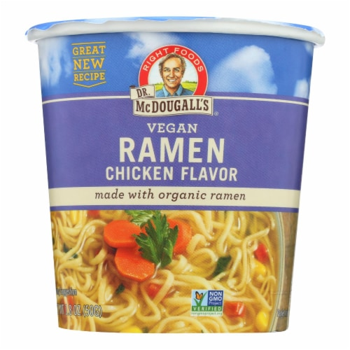 Dr. McDougall's Vegan Ramen Soup Big Cup with Noodles - Chicken - Case of 6 - 1.8 oz. Perspective: front