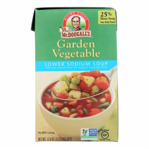 Dr. McDougall's Garden Vegetable Lower Sodium Soup - Case of 6 - 17.9 oz. Perspective: front