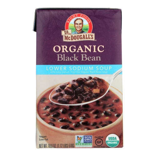 Dr. McDougall's Organic Black Bean Lower Sodium Soup - Case of 6 - 18 oz. Perspective: front