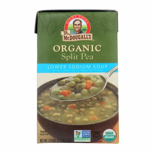 Dr. McDougall's Organic Split Pea Lower Sodium Soup - Case of 6 - 17.6 oz. Perspective: front